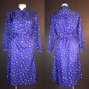 VINTAGE DRESS W/ NECKTIE BOW AND BELT